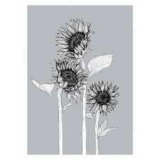 Gunmental Sunflower Lovers Unframed Paper Print