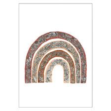 White Wildflower Rainbow-Colour Unframed Paper Print