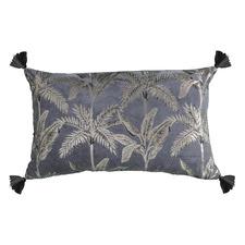 Metallic Grey Kachana Rectangular Velvet Cushion