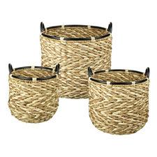 3 Piece Natural Barlow Water Hyacinth Basket Set