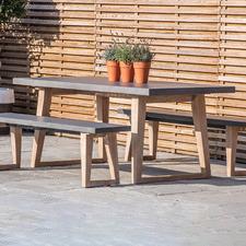 6 Seater Ashton Concrete & Acacia Wood Outdoor Dining Table