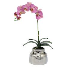 63cm Faux Mauve Orchid with Ceramic Pot