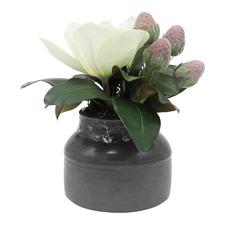 29cm Faux Magnolia & Eucalyptus Pods Arrangement with Ceramic Pot