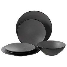 12 Piece Grey & Black Melamine Dinner Set