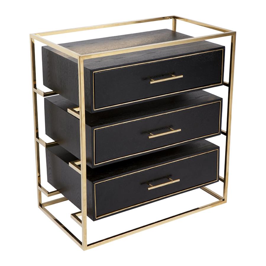 Modern black bedside table - Vogue Bedside Table