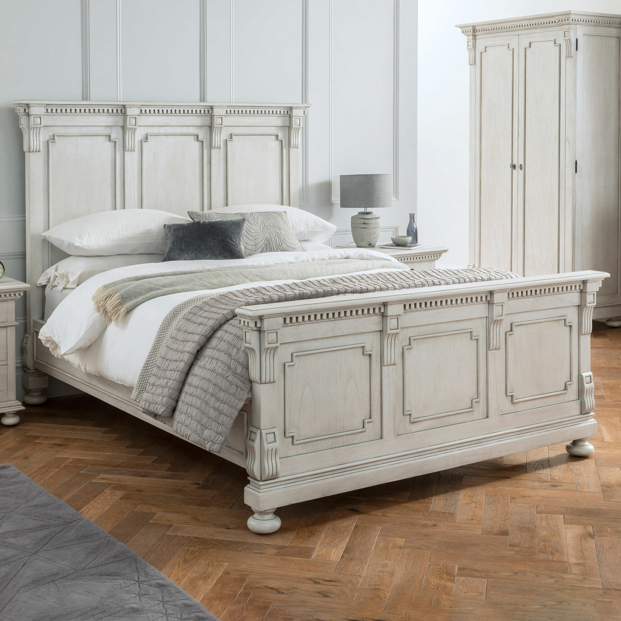 Carrington Furniture Antique White Augusta Mindi Wood Bed Frame Temple Webster