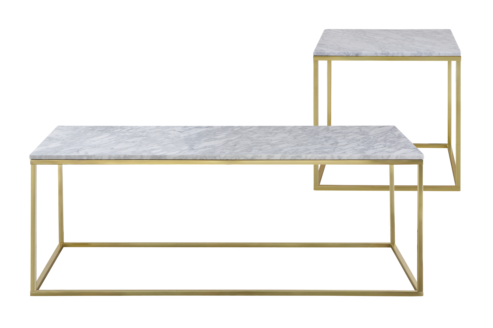 Como White Marble Coffee Side Table Set Temple Webster