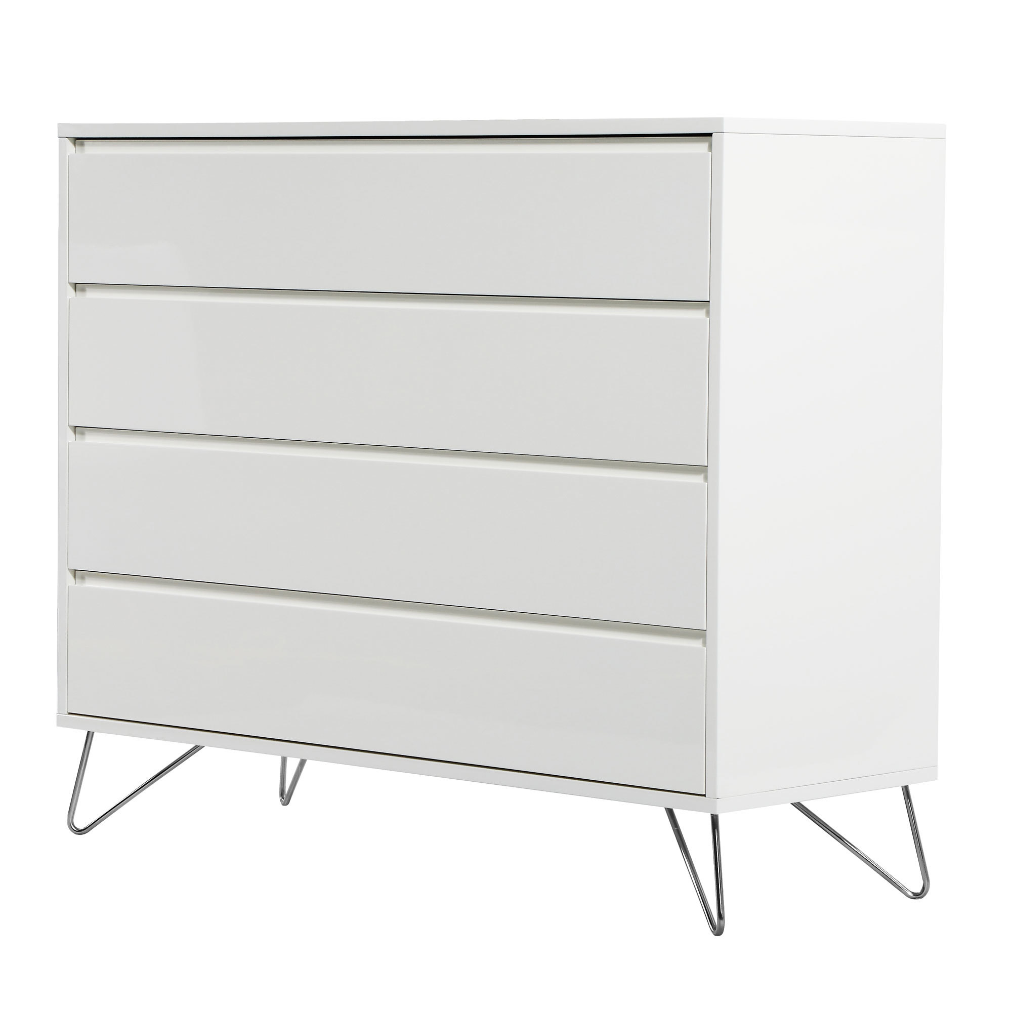 White Groove Chest of Drawers