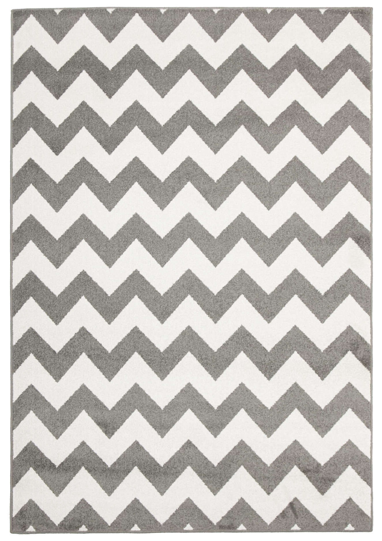 Grey & White Zig Zag Indoor Outdoor Rug