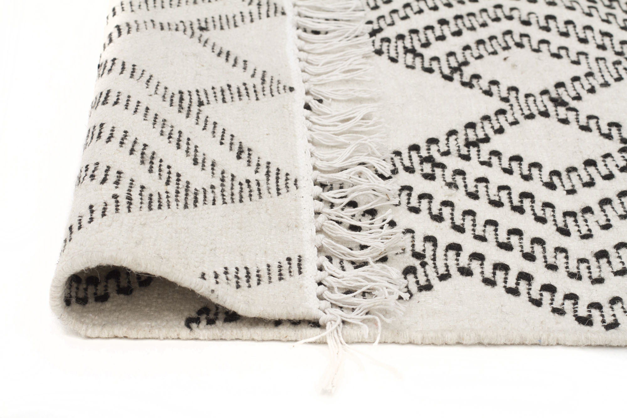 NEW-Casey-Natural-White-amp-Black-Hand-Loomed-Pure-Wool-Rug-Network-Rugs