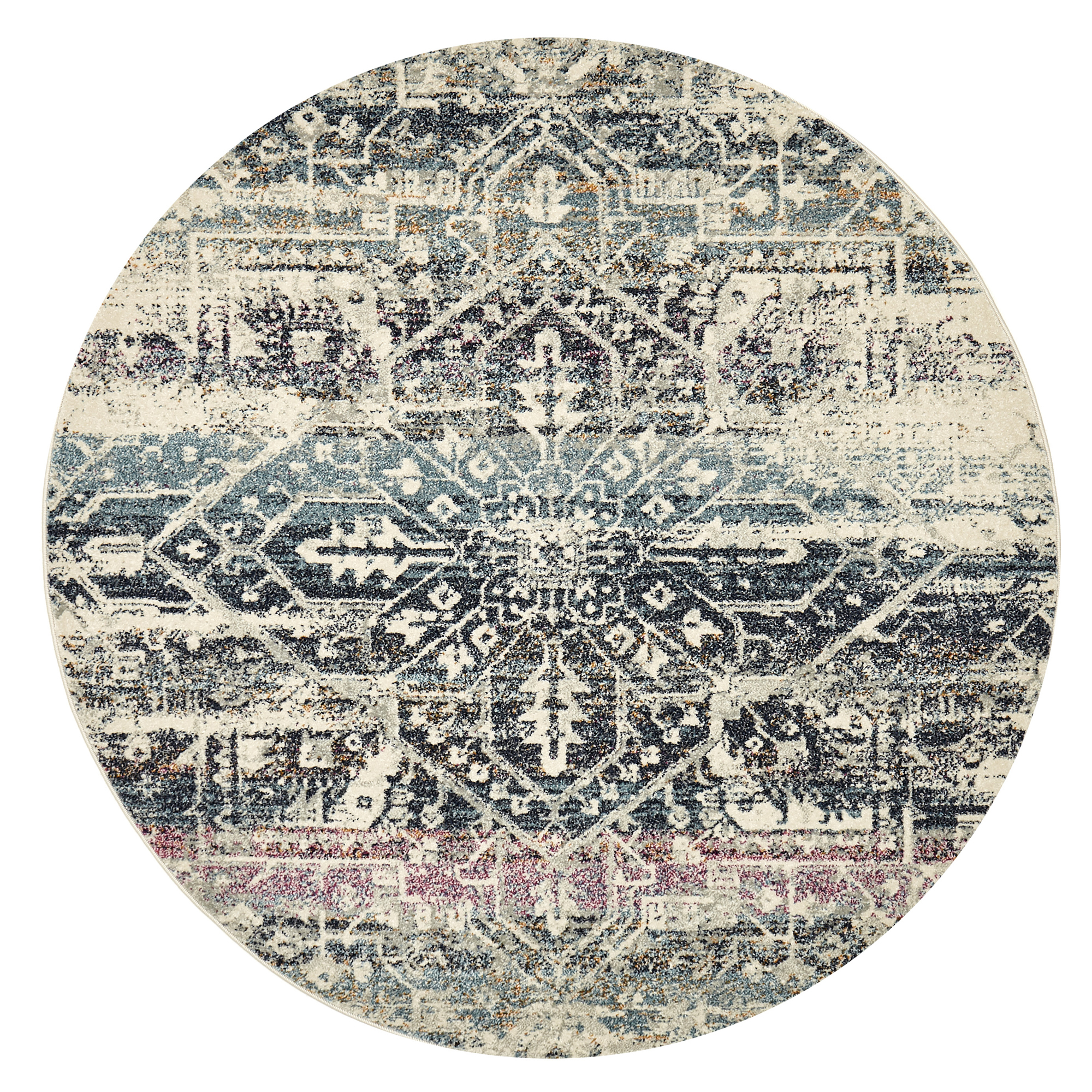 Sku #Netw7484 Blue Jaman Tolga Round Rug Is Also Sometimes