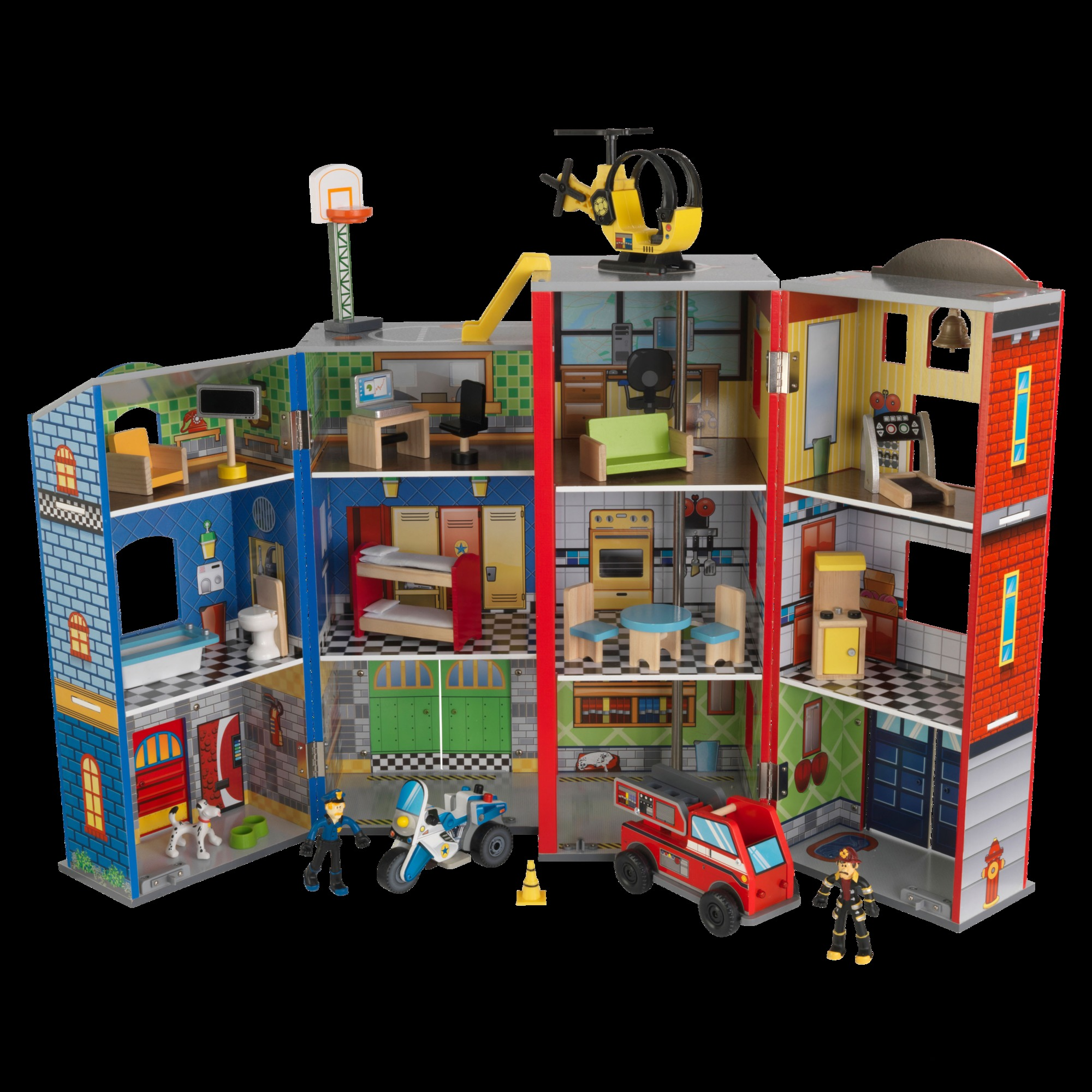 Details About New Everyday Heroes Police And Fire Station Wooden Play Set Kidkrafttoys