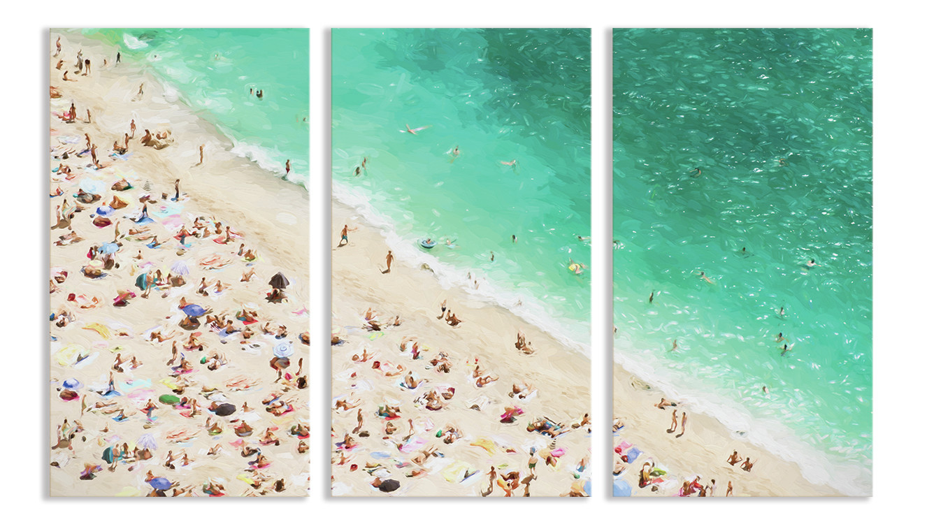 Summer Beach Scene 3 Piece Canvas Print | Temple & Webster