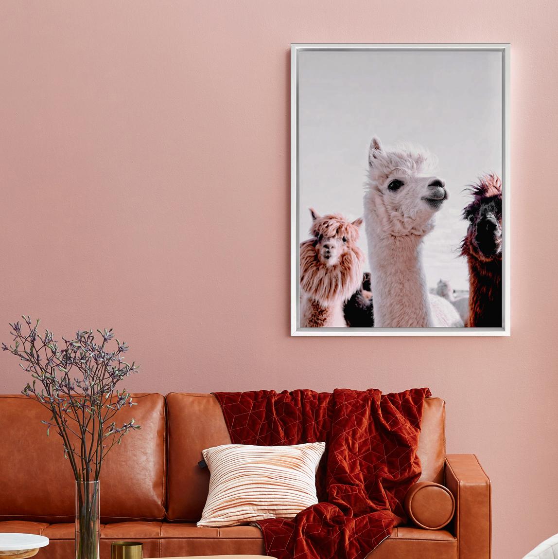 Llama No Problems Picture CANVAS WALL ART Portrait Print Grey