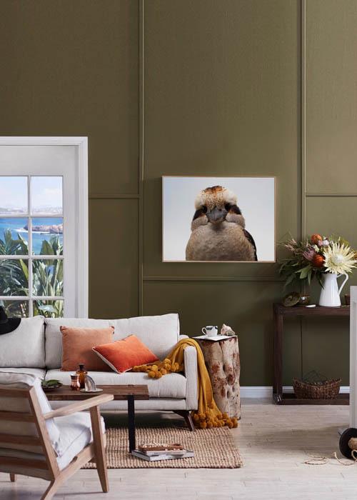 Styling – Allira Bell, Photography – Denise Braki. Pictured – Freya sofa, Fluffy Cheeks print, Modern Classic Leisure armchair, Ellis Pom Pom throw & Gabriel velvet cushions.