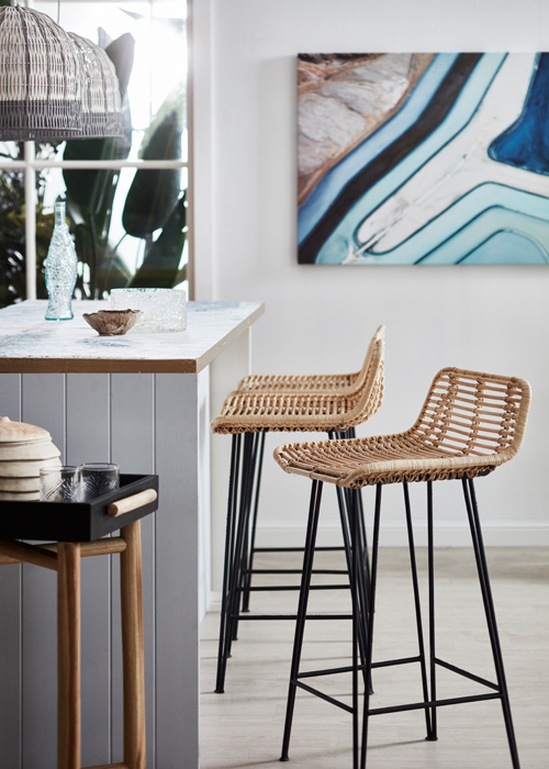 Rattan and timber pieces can still work in the cooler months. Photography: Denise Braki, Styling: Jonathan Fleming & Allira Bell.