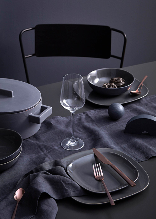 Simple tableware and clean lines let the dark tones shine. Photography Denise Braki, Styling Allira Bell.
