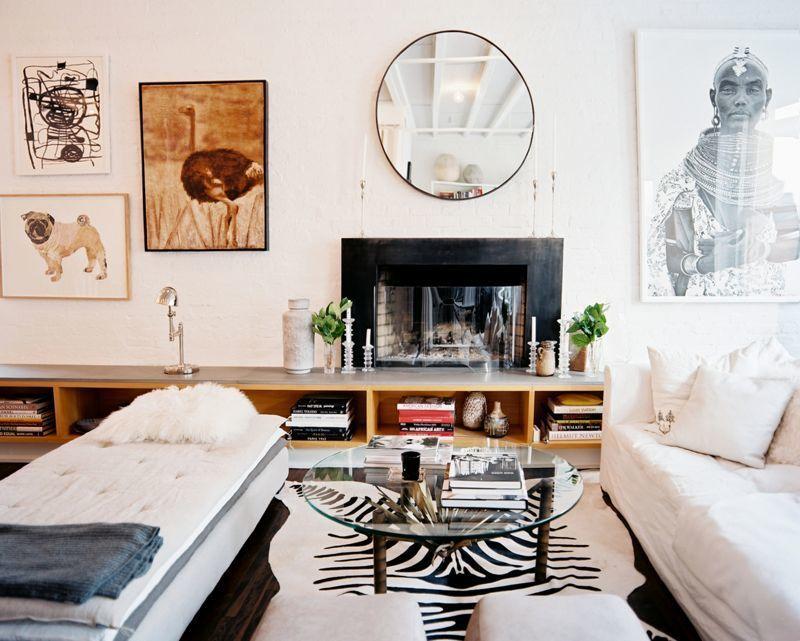 Zebra print rug in a light contemporary interior