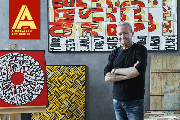 Kelly Stewart with some of his featured works.  Styling – Jonathan Fleming. Photo – Denise Braki.
