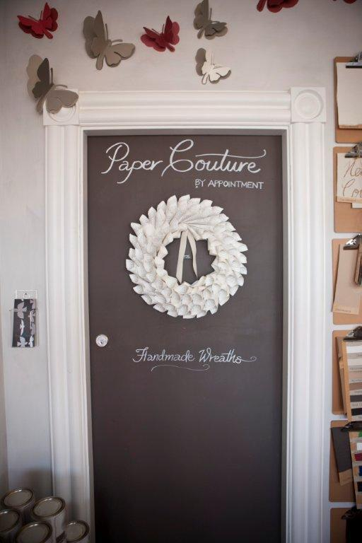 Paper Couture wreath door