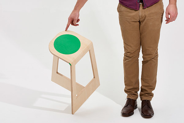 Elliot with his 'Spot' stool, available in a range of colours