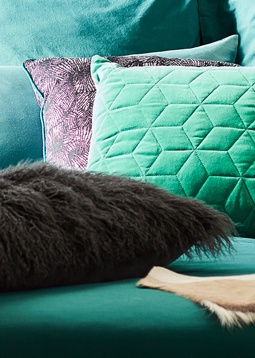 Round out the colour palette with blues and greens.