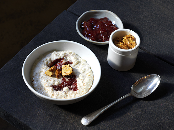 Mike McEnearney's creamy rice pudding with rhubarb jam from his new Sydney restaurant No. 1 Bent St,
