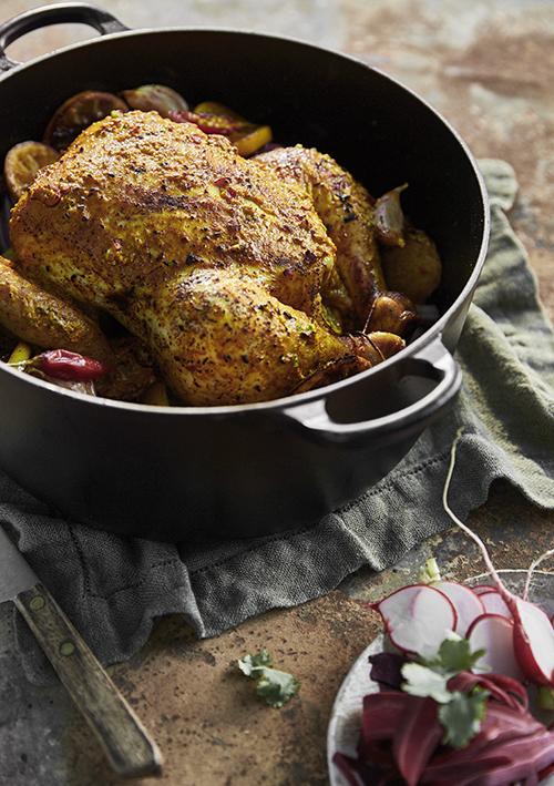 Ginger & turmeric roast chicken. Recipe & styling – Jess Dennison. Photo – Denise Braki.