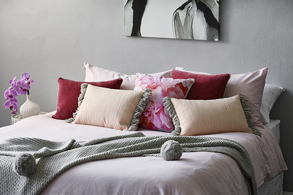 The beautiful blush pink bed our head of styling Jess created for Sam Designs on  Sunrise. Photo – Denise Braki.