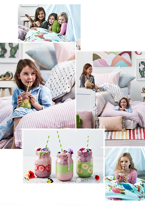 """The best part was drinking the smoothies!"" – Joceyln (bottom right). ""My favourite is the furry blanket  in the teepee… I'm getting back in!"" – Eve (above left). Photography – Denise Braki."