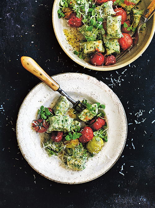 Donna Hay's herbed ricotta gnocchi with cherry tomato. Photography – William Meppem.