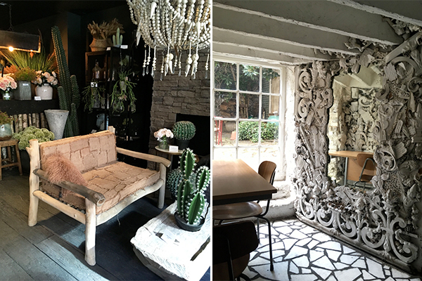 Left - the beautiful Abigail Ahern store. Right - hidden coffee spot at the Coffee Works Project.