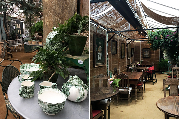 Left - a detailed tea set in the Petersham Nurseries retail space. Right - The perfect spot to enjoy a glass of wine and cheese platter.