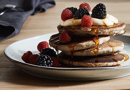 Vegan banana buckwheat quinoa pancakes