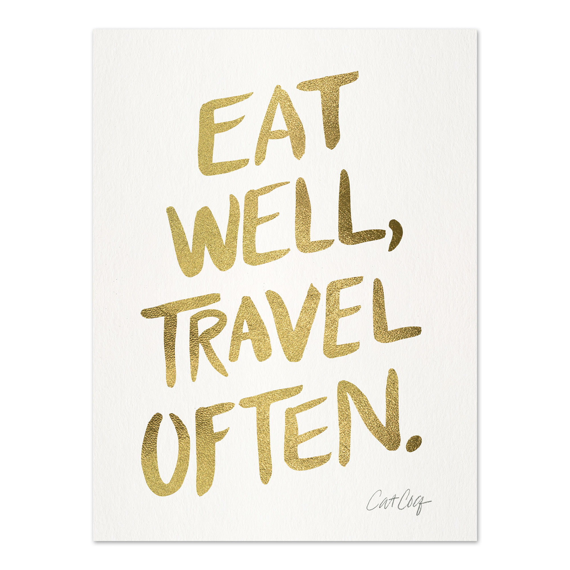 Eat Well Travel Often Gold Printed Wall Art | Temple & Webster