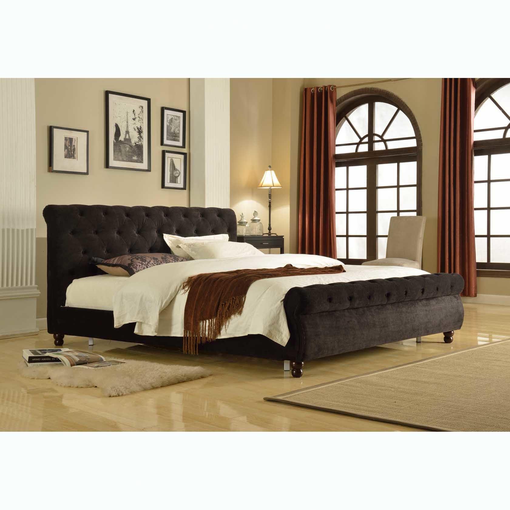 SKU #NGUY1072 Black Birmingham Velvet Bed Frame Is Also Sometimes Listed  Under The Following Manufacturer Numbers: LONDON K BLACK, LONDON Q BLACK
