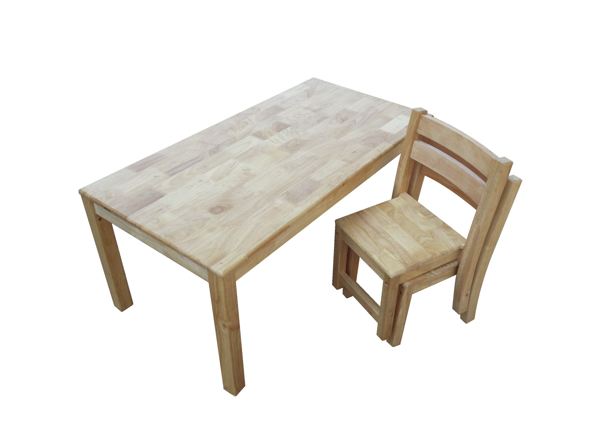 Rubber Wood Rectangular Table with 2 Stacking Chairs