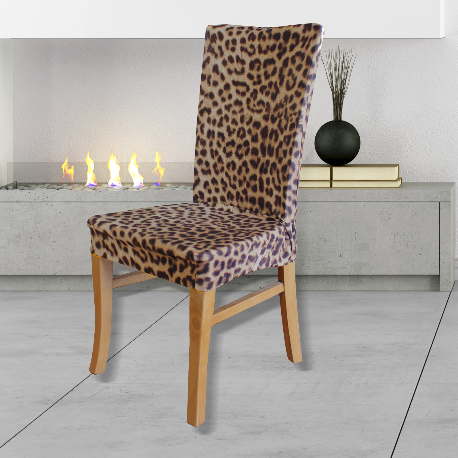 Statement Prints Leopard Dining Chair Cover