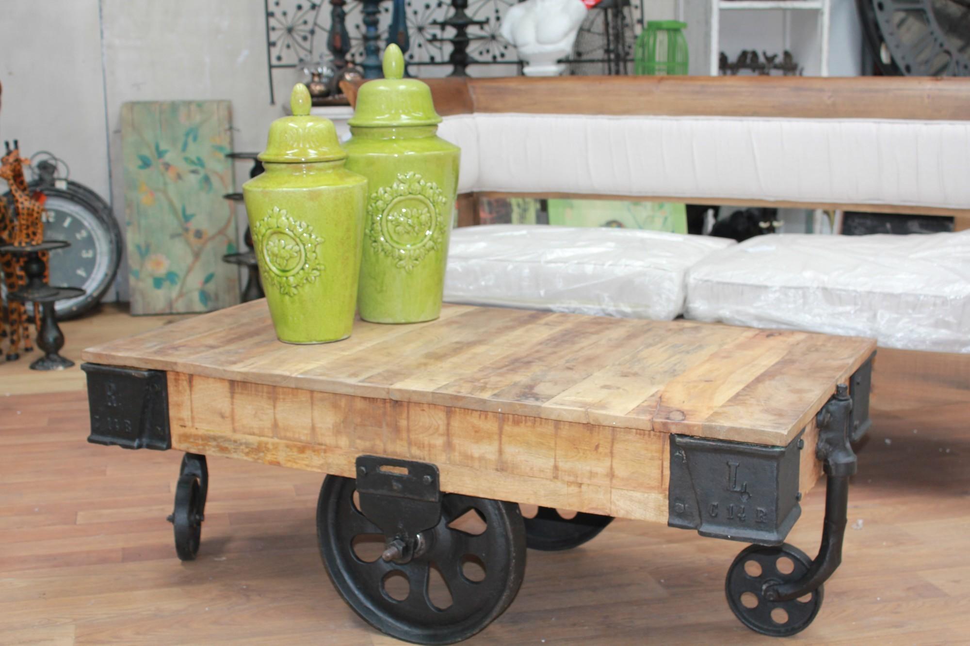 rail cart coffee table peachtree natural color mango wood railway