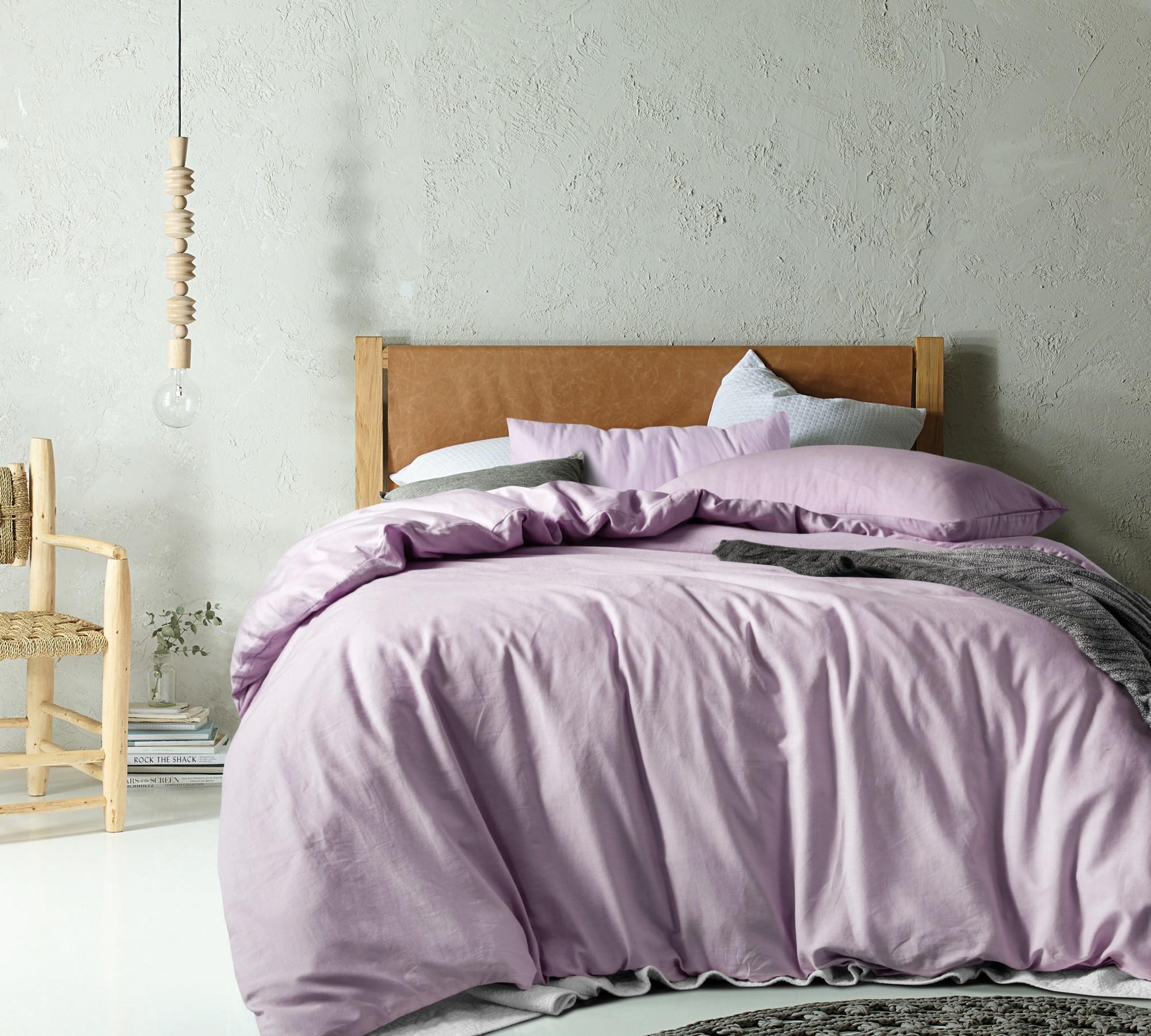 Mauve Linen Blend Quilt Cover Set