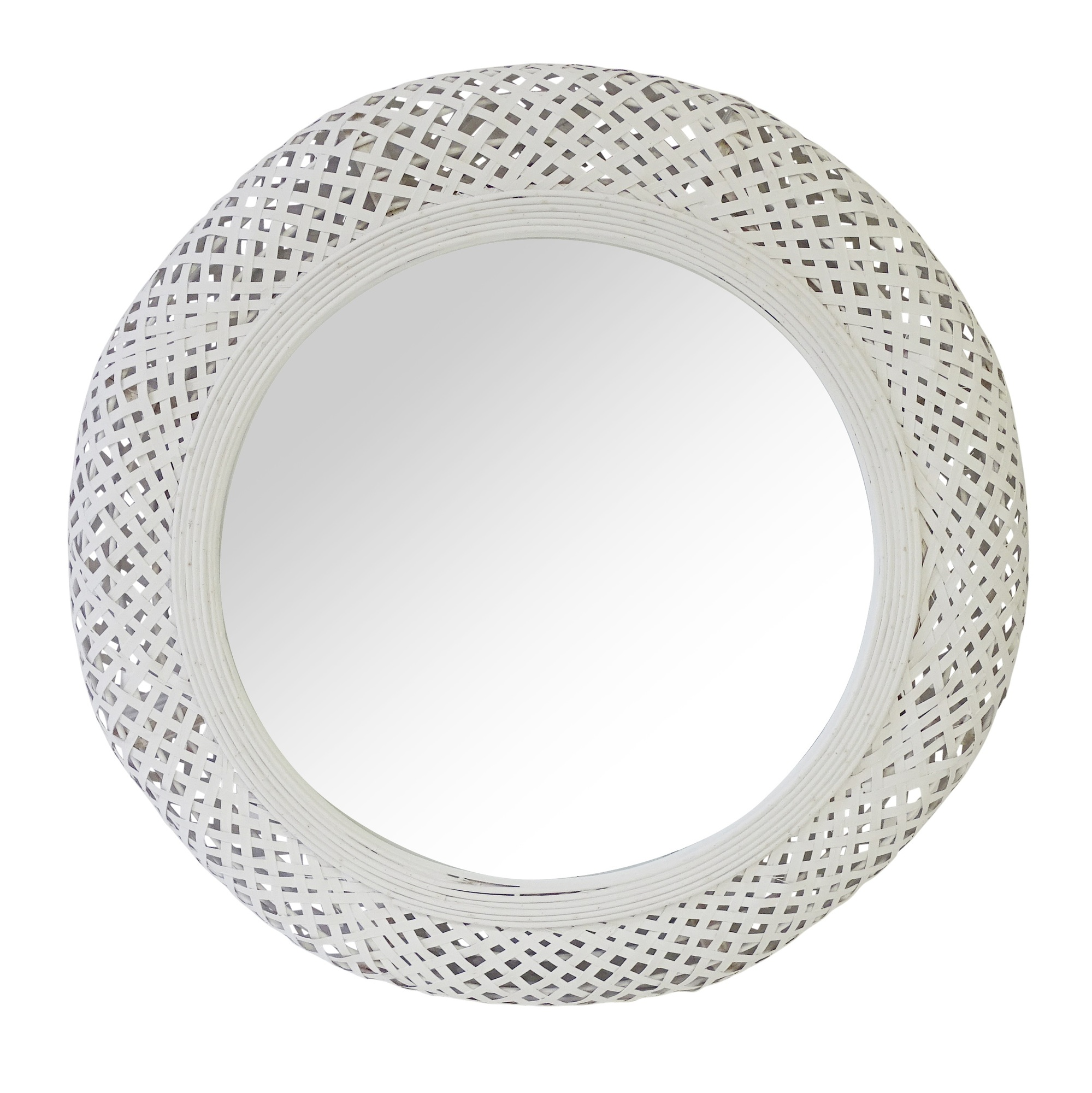 The Medford Collective White Miara Round Rattan Mirror Reviews Temple Webster