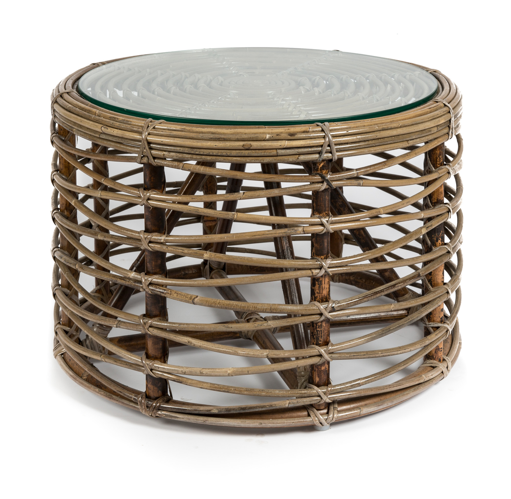 Woven Rattan Coffee Table: NEW Woven Rattan Round Coffee Table