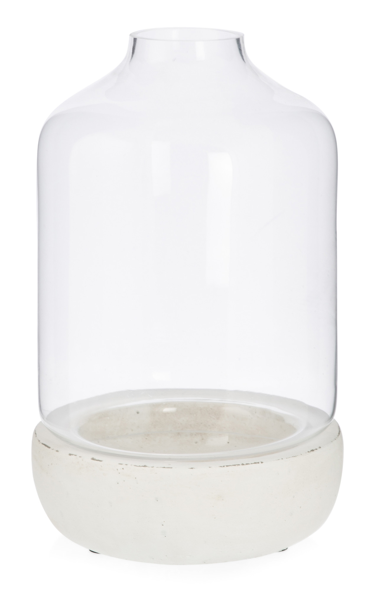 NEW-Glass-Dome-Hurricane-Lamp-with-Cement-Base