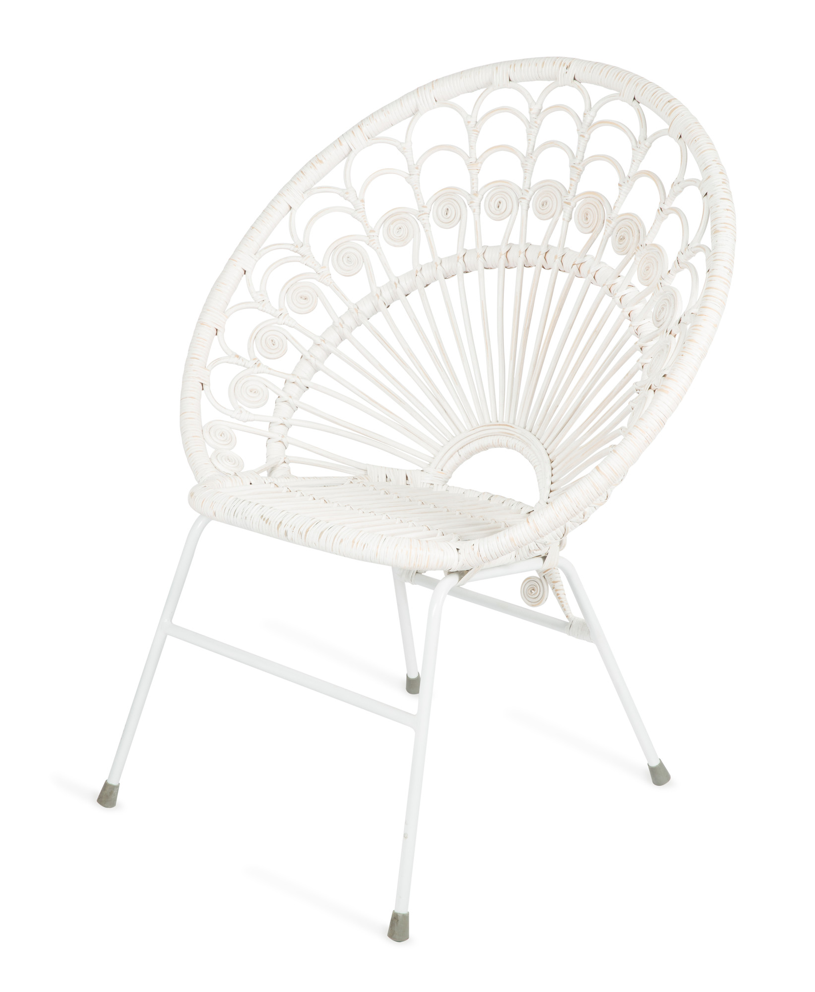 Bandung White Rattan Chair with Metal Legs