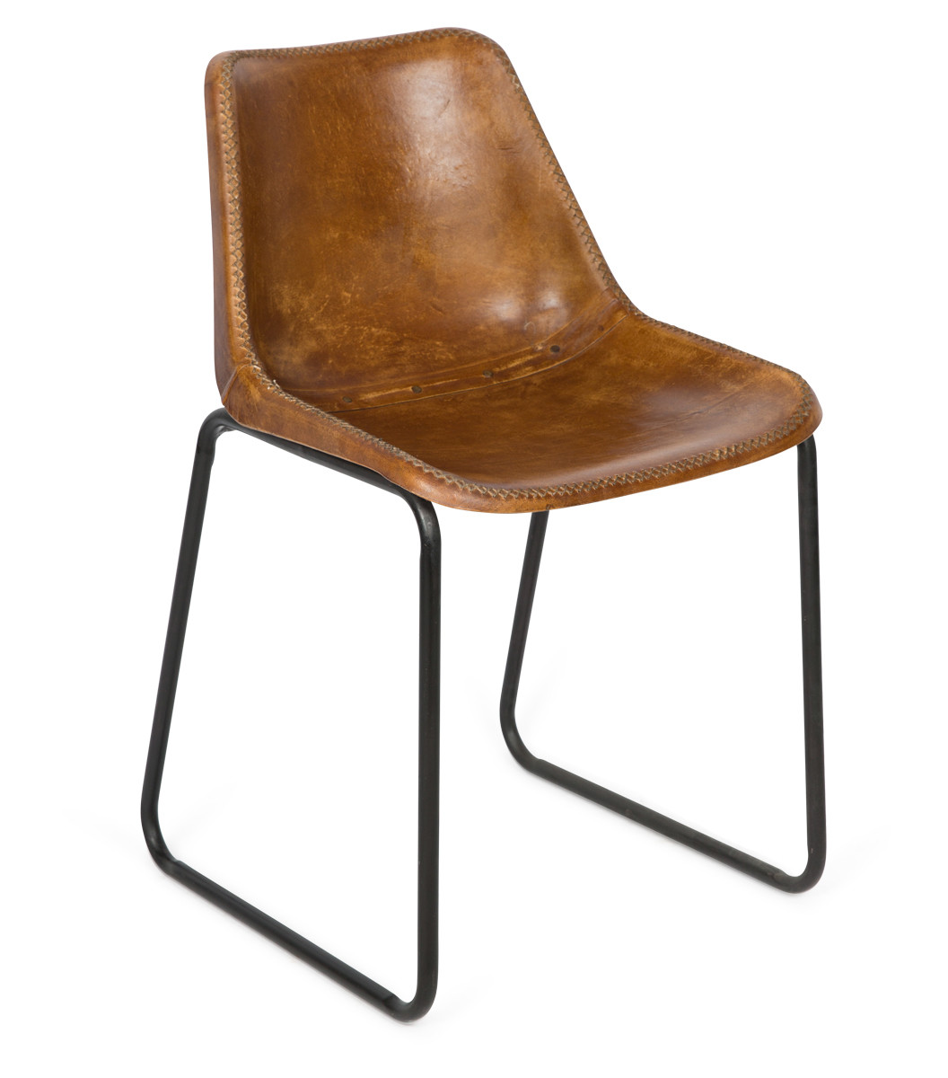 Vintage Aged Leather Dining Chair