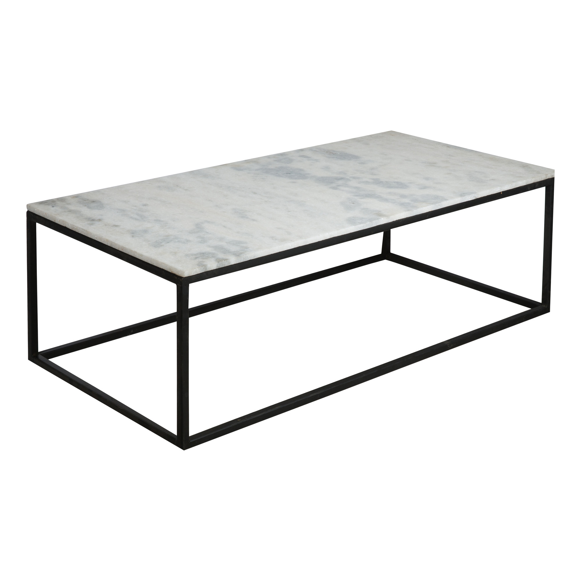 Natural Stone Coffee Table with Black Base