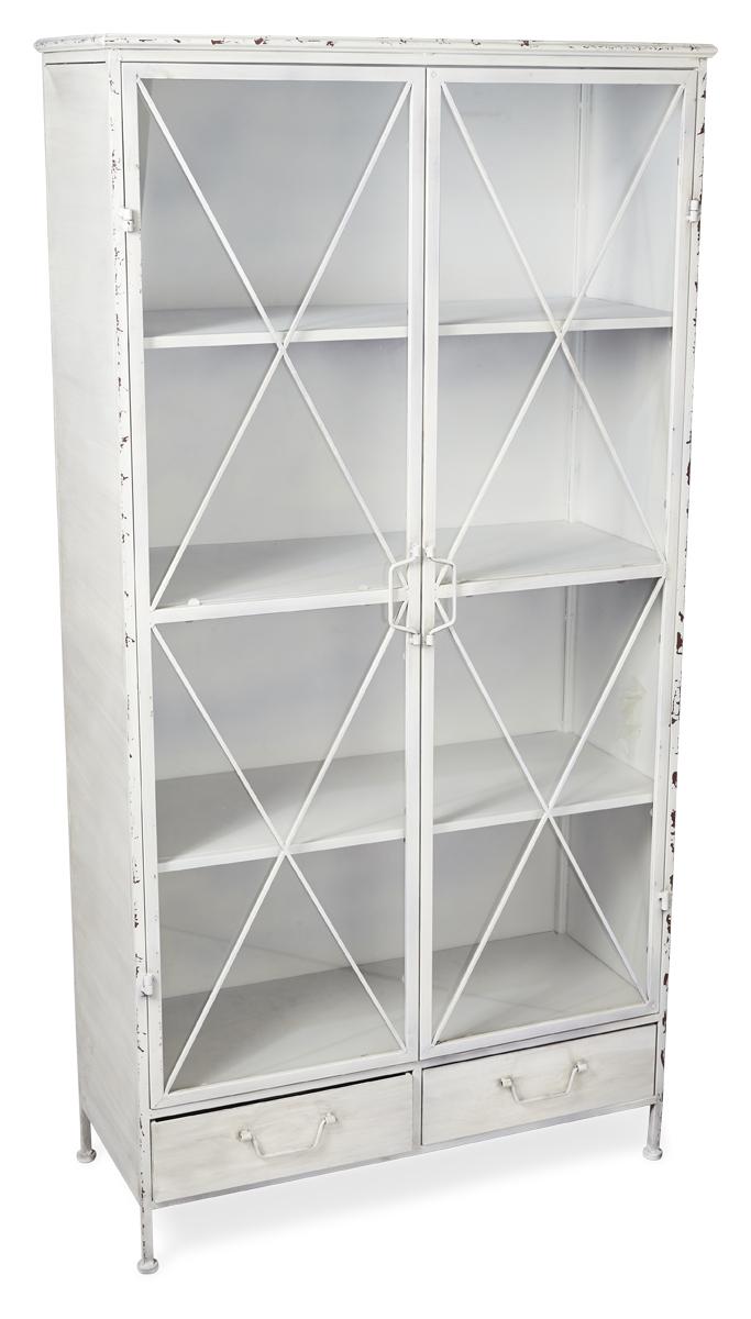 Antique White 2 Door Metal Bookcase
