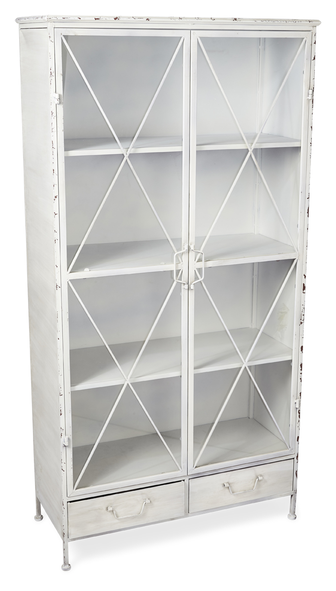 Antique White 2 Door Metal Bookcase