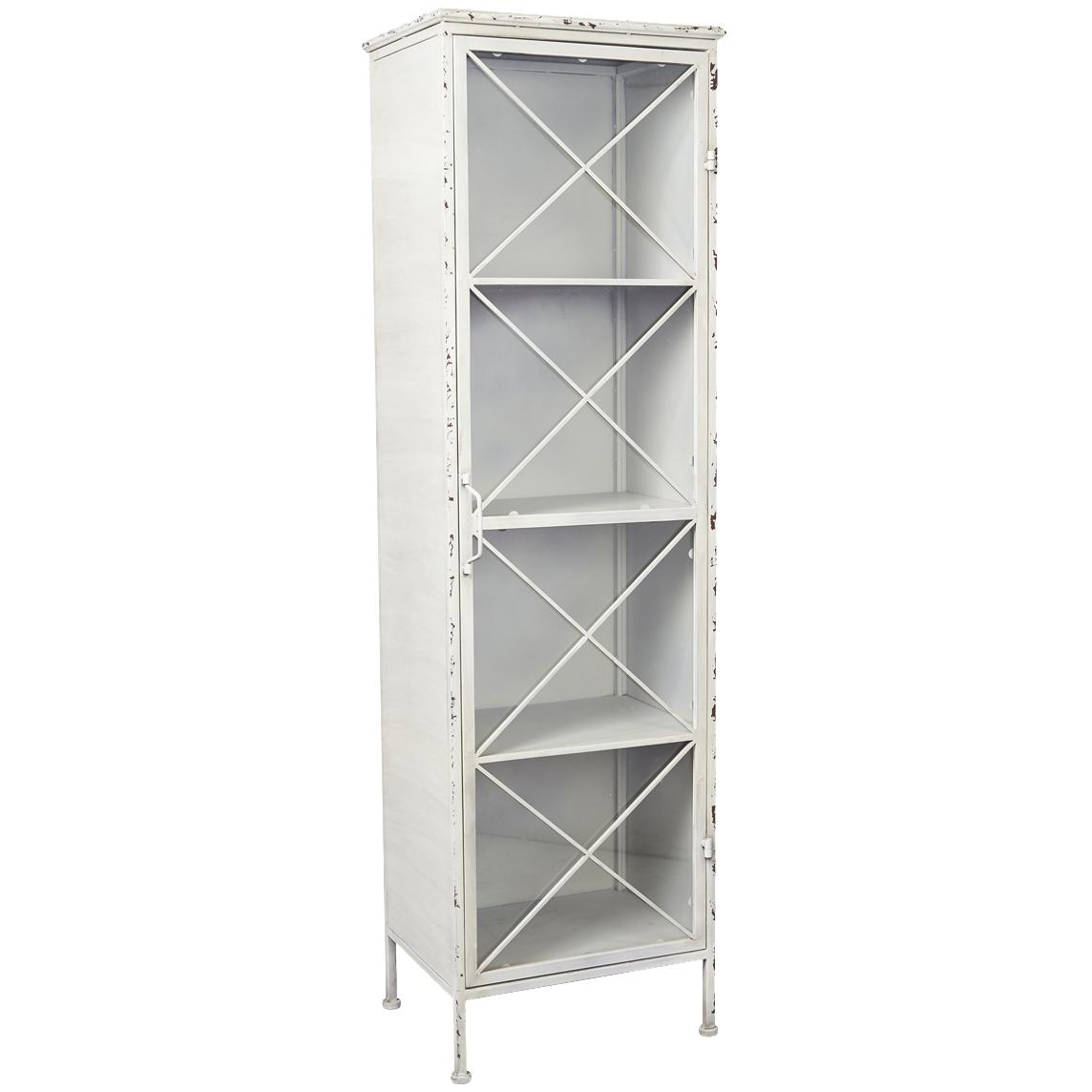 Antique White Single Door Metal Bookcase