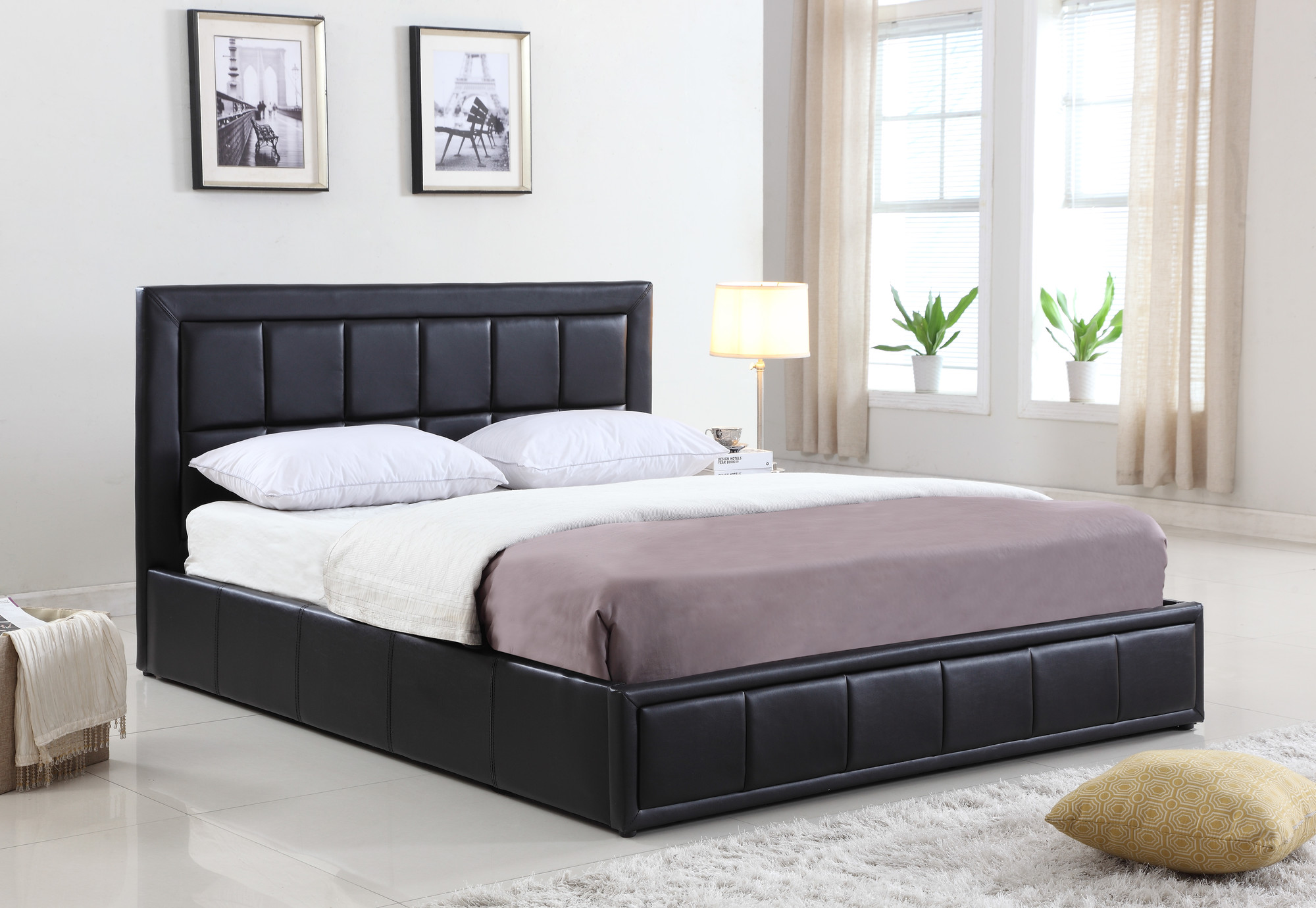 VIC Furniture Atticus PU Leather Queen Gas Lift Storage Bed